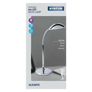 Status Metal Alicante Chrome LED Desk Lamp