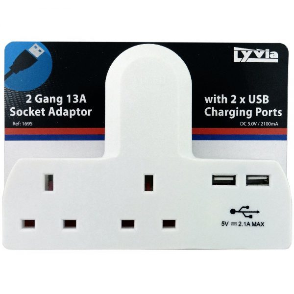 2 Gang 13a Socket Adaptor with 2 USB Charging Ports.