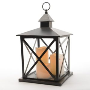 Kaemingk LED Plastic Lantern Black Antique 40.5cm